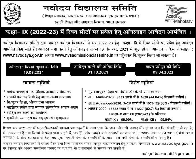 Navodaya admission 9th 2021-22 JNVST Application Form nvsadmissionclassnine.in