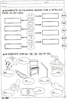 Atividade de alfabetização letra N