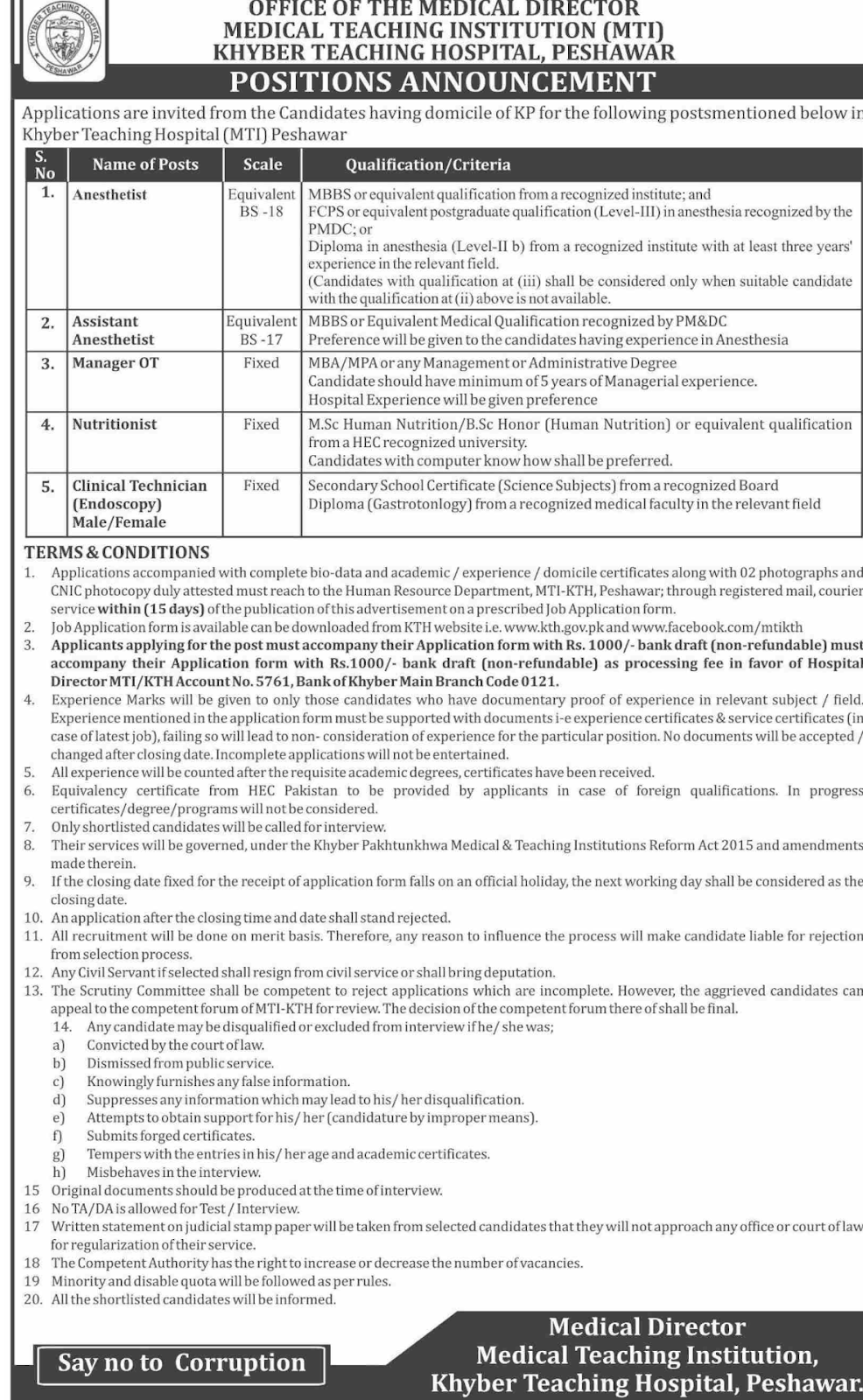 Jobs in Khyber Teaching Hospital MTI Peshawar 2020