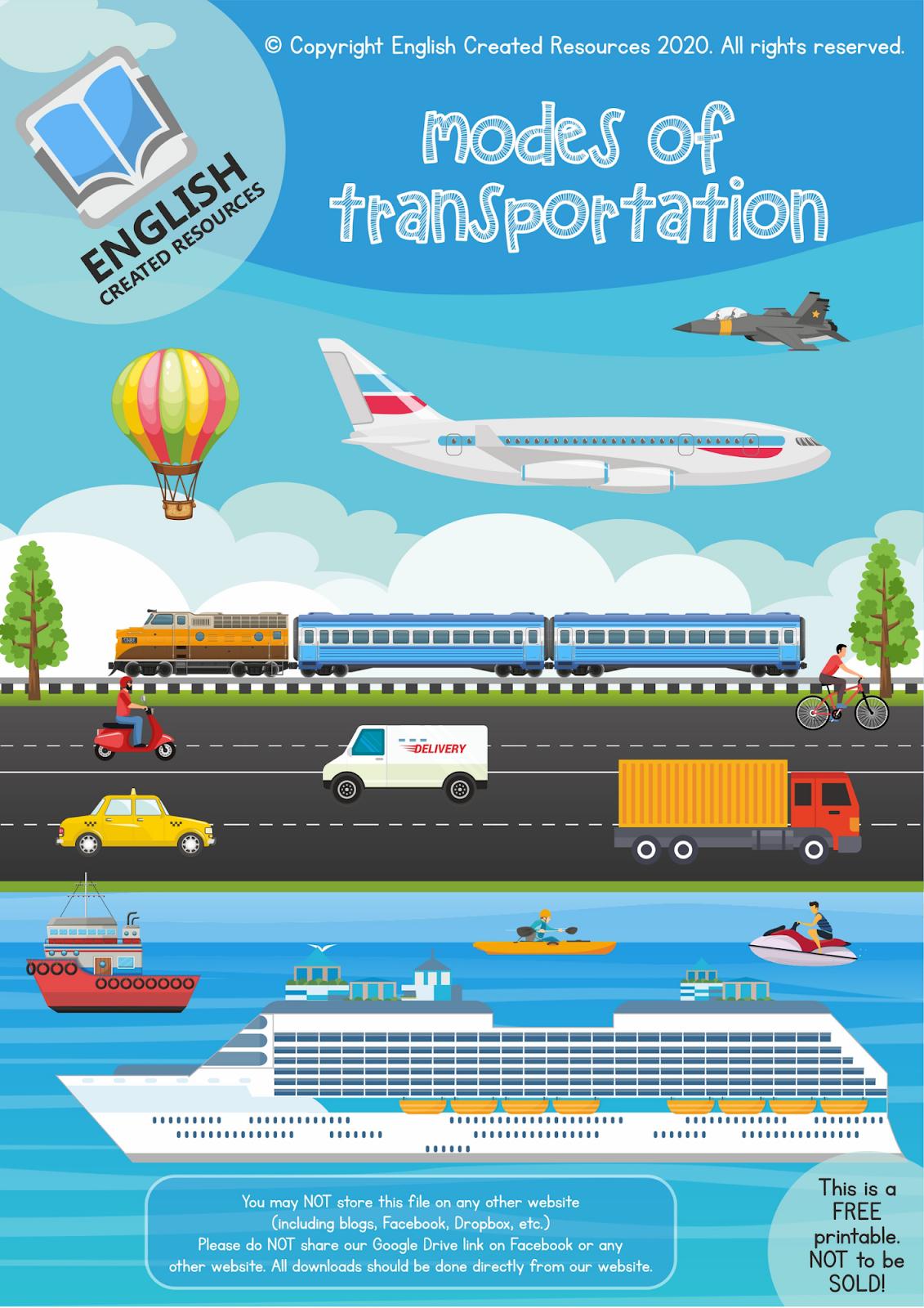 Modes Of Transportation Worksheets