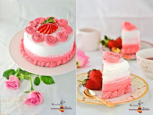 Milkshake Cake | Rosette Cake | Valentine's Day Strawberry Cake ...