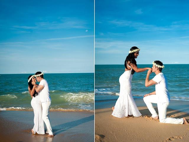 Ensaio de fotos de casal noivos na praia