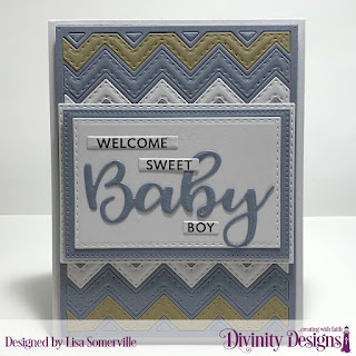 Divinity Designs Stamp/Die Duos: Bless this Baby, Custom Dies: Chevron Background, Double Stitched Rectangles, Pierced Rectangles, Sentiment Strips