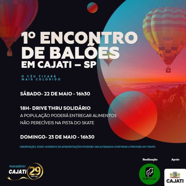 Cajati festeja 29 anos colorindo o município com um espetáculo de balões
