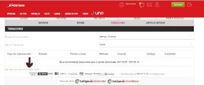 pantallazo de web de sportium zona cajero