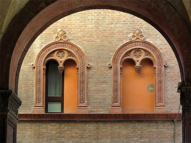 Two windows seen from a portico, near Via Santo Stefano, Bologna