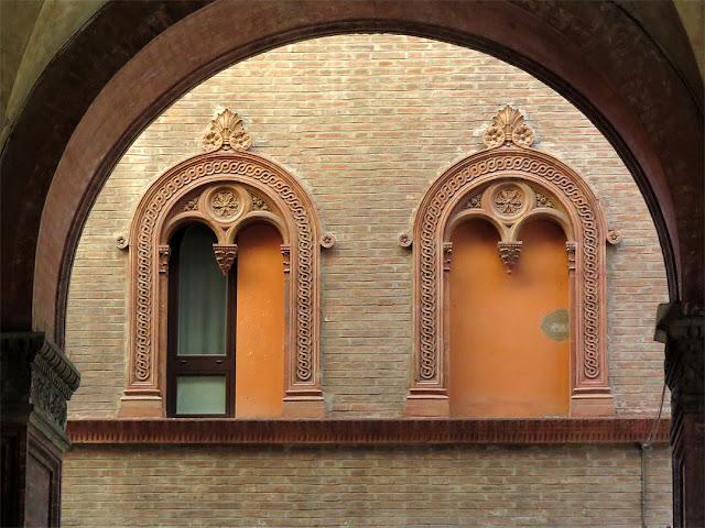 Two windows seen from a portico, near Via Santo Stefano, Bologna