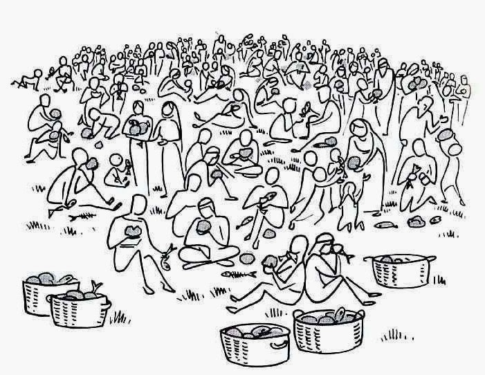 jesus feeds 5000 coloring page - feeding the 5000 is an incredible miracle