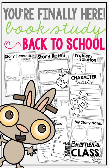 You're Finally Here book study companion activities perfect for back to school! Use for whole class guided reading, small groups, or individual study packs. Packed with lots of fun literacy ideas and guided reading activities. Common Core aligned. K-2 #bookstudies #bookstudy #picturebookactivities #1stgrade #2ndgrade #kindergarten #literacy #guidedreading #backtoschool