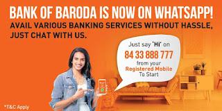 Bank of Baroda (BOB) Whatsapp Banking for Check Balance and Mini Statement