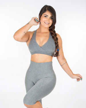 Moda Sandy Fitness Top Transpassado