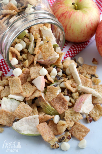 Whip up this fall inspired Easy Apple Pie Trail Mix in just minutes with only 4 simple ingredients.