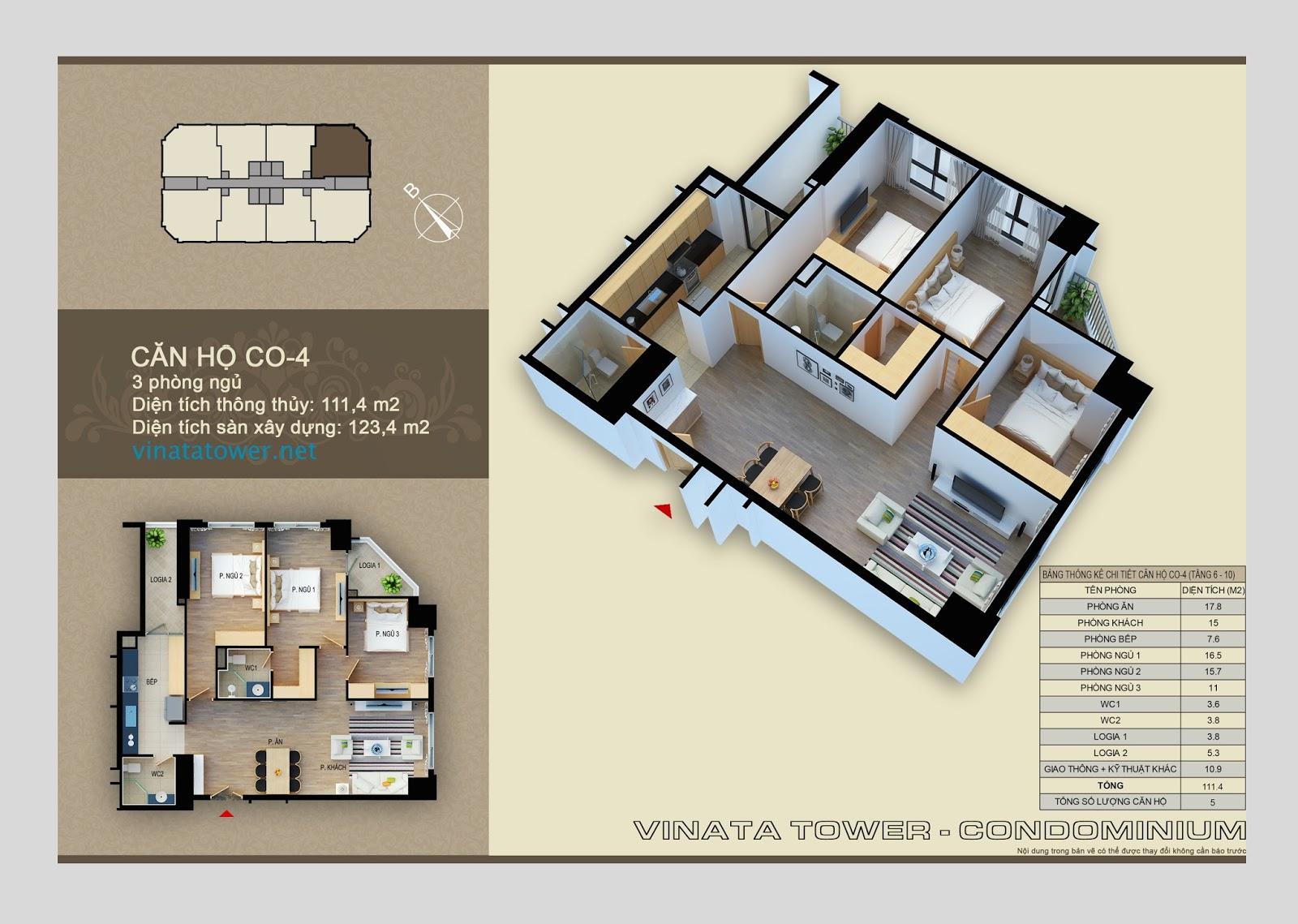 Thiết kế chi tiết căn 04 chung cư Vinata Towers: 111,4m2, 3PN, 2VS