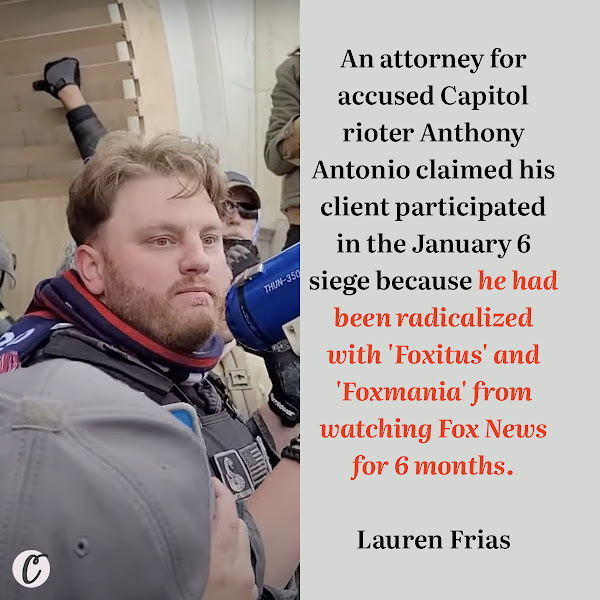 An attorney for accused Capitol rioter Anthony Antonio claimed his client participated in the January 6 siege because he had been radicalized with 'Foxitus' and 'Foxmania' from watching Fox News for 6 months. — Lauren Frias, Business Insider Breaking News Reporter