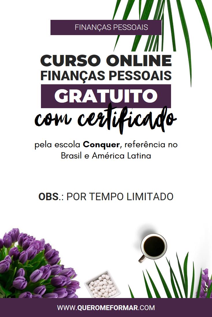 Imagens para Pinterest Curso Online de Finanças Pessoais GRATUITO Com Certificado de Conclusão pela Escola Conquer