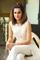 Taapsee Pannu in cream Sleeveless Kurti and Leggings at interview about Anando hma ~  Exclusive Celebrities Galleries 010.JPG