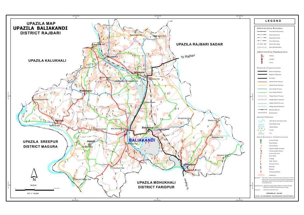 Baliakandi Upazila Map Rajbari District Bangladesh