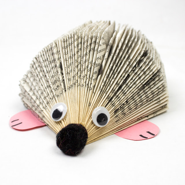 Easy Book Folding Art Craft- How to Make An Adorable Hedgehog out of paper books, a fun DIY book animal craft