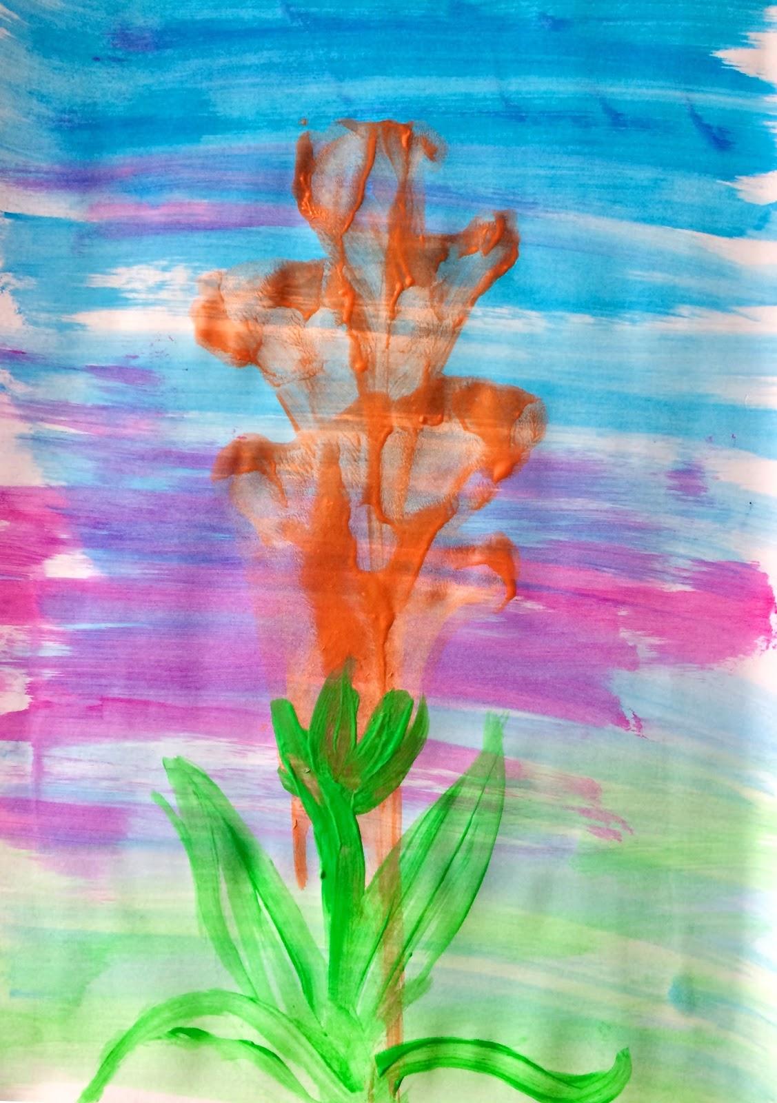 Flori de primăvară -pictura cu sfoara