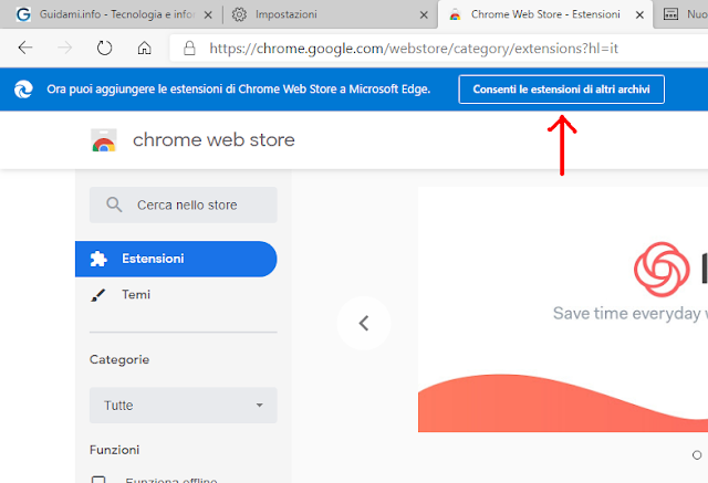 Microsoft Edge in Chrome Web Store pulsante banner Consenti le estensioni di altri archivi