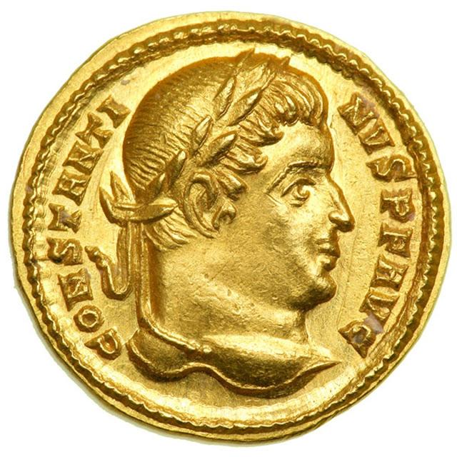 Anverso de sólido del emperador romano Constantino I