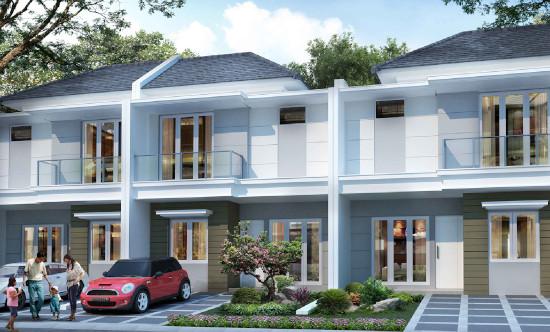 tampak depan rumah minimalis ukuran 7x12 meter 3 kamar tidur 2 lantai