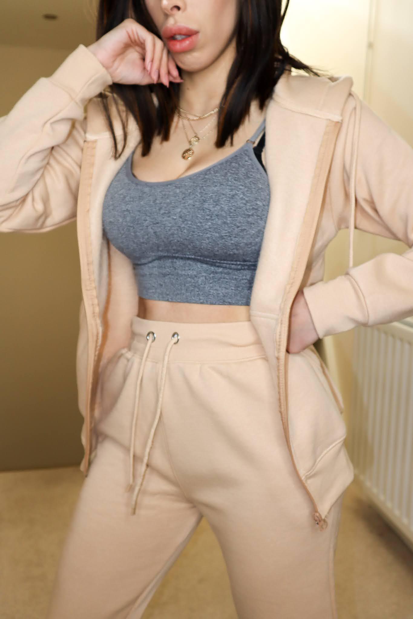 The Femme Luxe Stone Oversized Zip Up Hoodie Cuffed Joggers Loungewear Set in model Pam