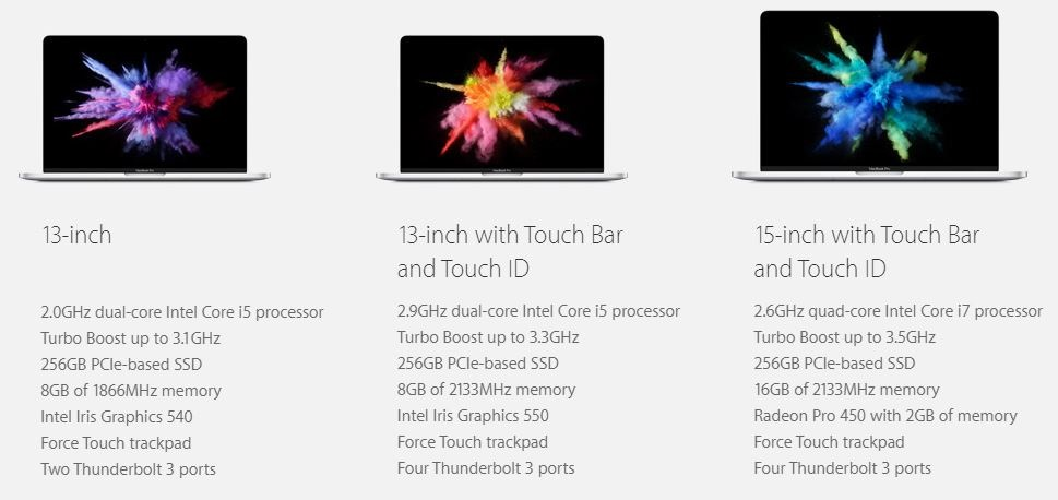 MacBook Pro 2016 all models price