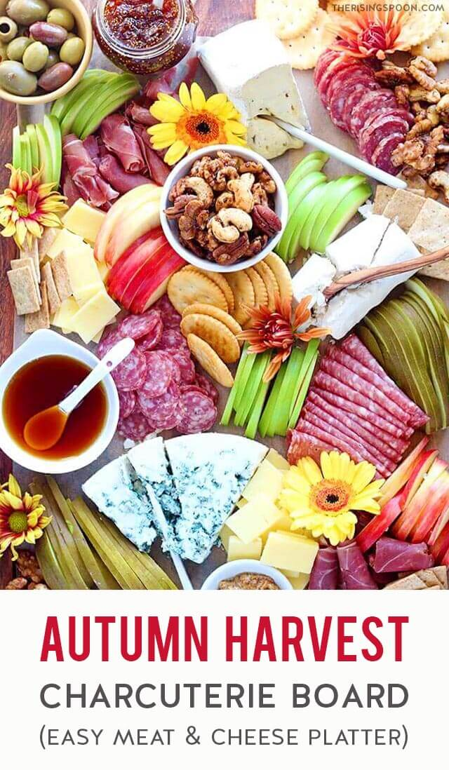 Need an easy & eye-catching appetizer for fall parties & holidays like Halloween, Thanksgiving & Christmas? Prep and assemble a simple charcuterie board (meat & cheese platter) with autumn-themed ingredients in about 30 minutes. This one features cured meats, hard and soft cheeses, seasonal produce like apples and pears, plus sweet & savory nibbles so there's a variety of flavors. I've even included ideas for delicious fall drink pairings (alcoholic & non-alcoholic) so you're ready for stress-free entertaining.