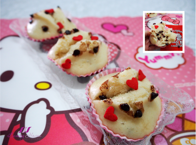daiso hello kitty steamed cake with chocolate chips