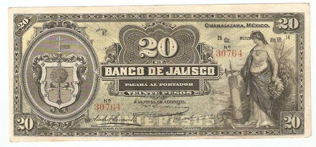 Mexican banknotes 20 Pesos banknote Mexico paper money Banco de Jalisco