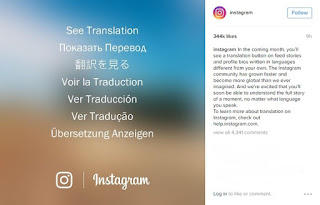 Translate button on Instagram