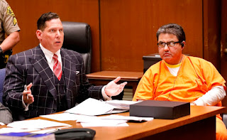 Naason Joaquin Garcia (R), the leader of a Mexico-based evangelical church appeared with his defense attorney Ken Rosenfeld for a bail review hearing in L.A. Angeles Superior Court in July. (AL Seib/AFP via Getty Images)