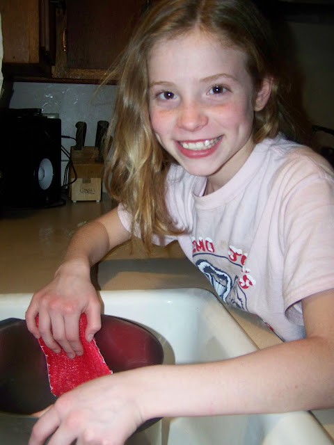 My 10 year old daughter, happily trying out the new scrubby! The verdict is in and it works well!
