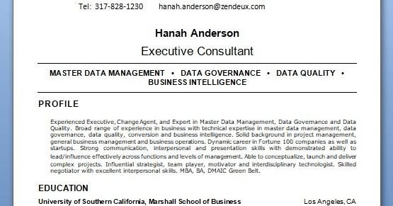 data management master sample resume format in word free