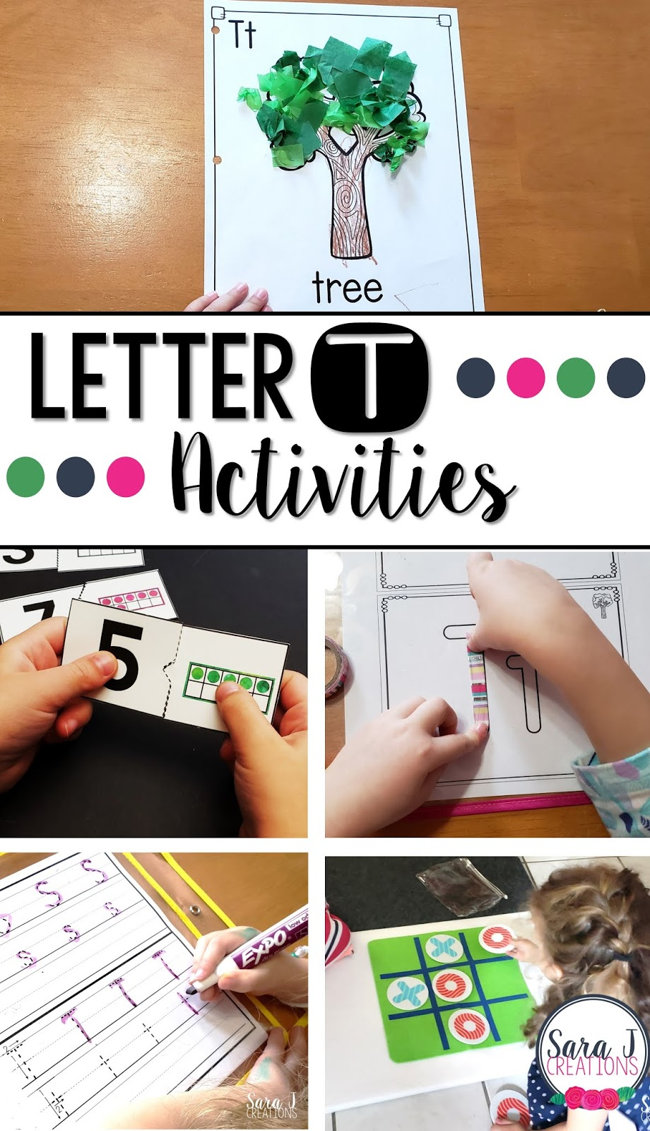 Join us as we practice the alphabet, specifically letter T, with fun activities for preschool aged kids. Art, crafts, fine motor, handwriting worksheets, books and more!