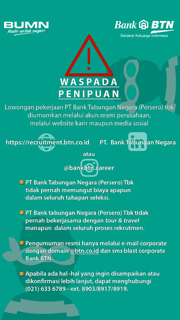 Lowongan Kerja CS, Teller, ODP, GBS, BSS Bank BUMN, BTN Indonesia