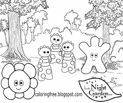 Flower area Tombliboos kids colouring in the night garden Haahoos easy sketching ideas for beginners