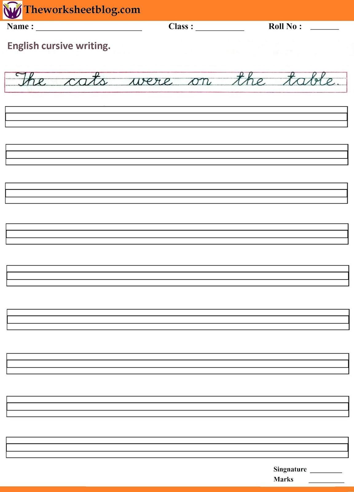 English Cursive Sentence Writing Worksheet