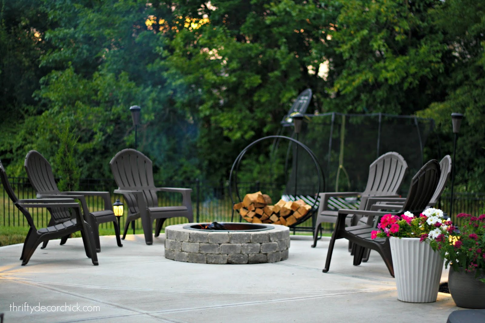 Separate round fire pit patio