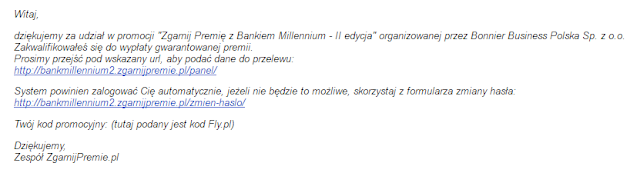 Mail do uczestników promocji Zgarnij Premię z Bankiem Millennium - II edycja