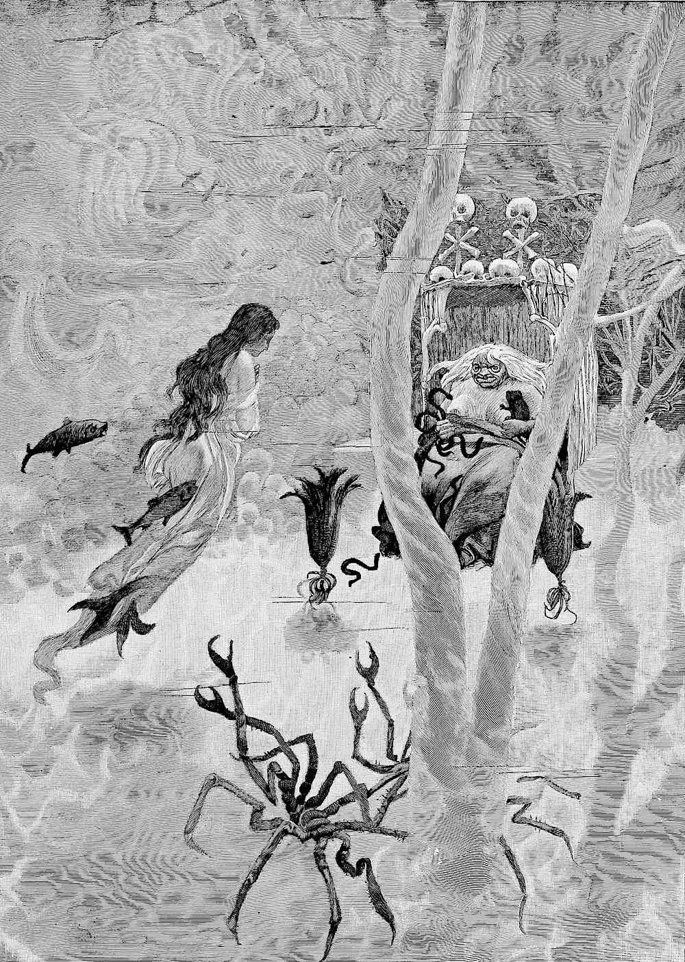 an underwater illustration from a German children's book 1900
