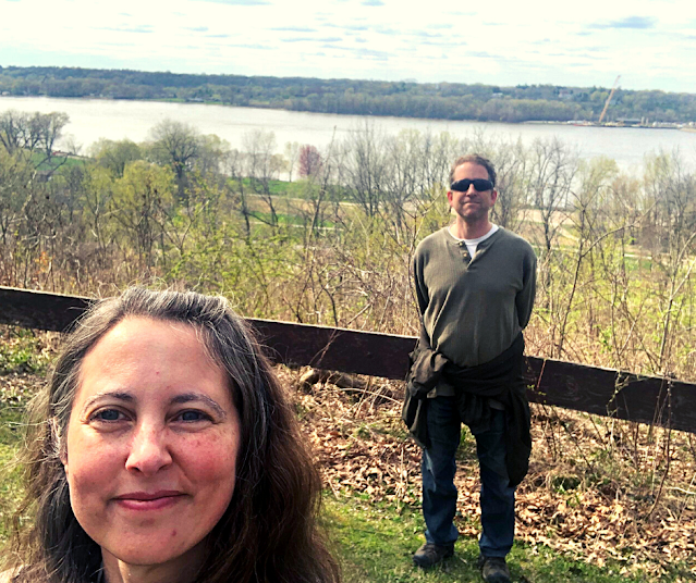 Taking in the view of the Mississippi River at Illiniwek Forest Preserve.