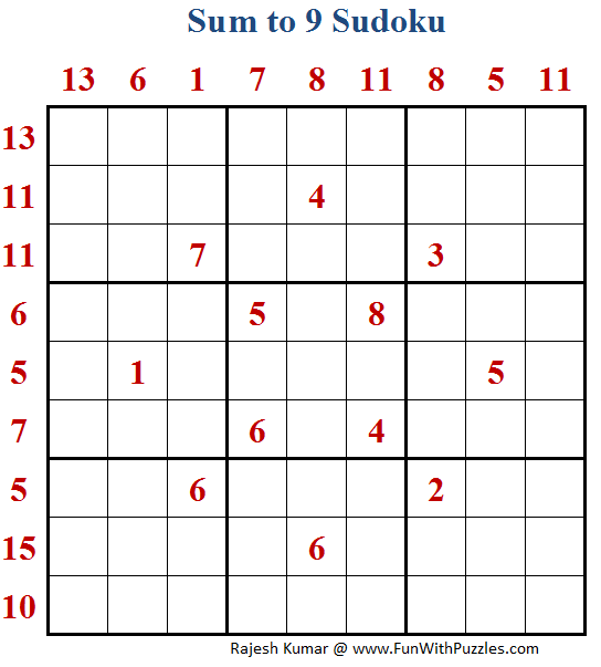 Sum to 9 Sudoku (Daily Sudoku League #167)