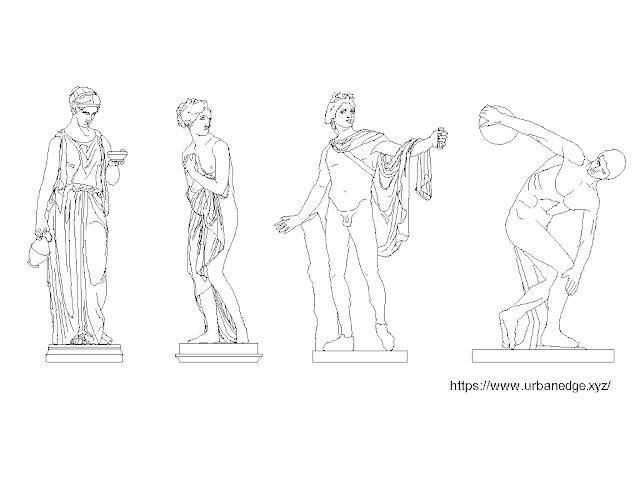 Classical statue sculptures free dwg cad blocks download  - 4 free cad blocks