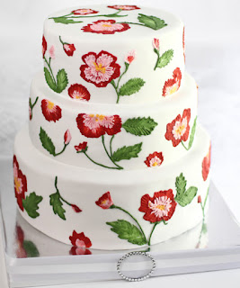 Cabbage Rose Embroidery Cake