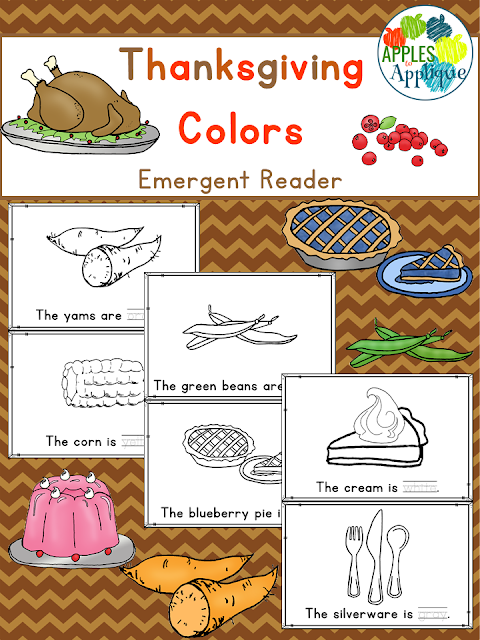 Thanksgiving Colors Emergent Reader | Apples to Applique