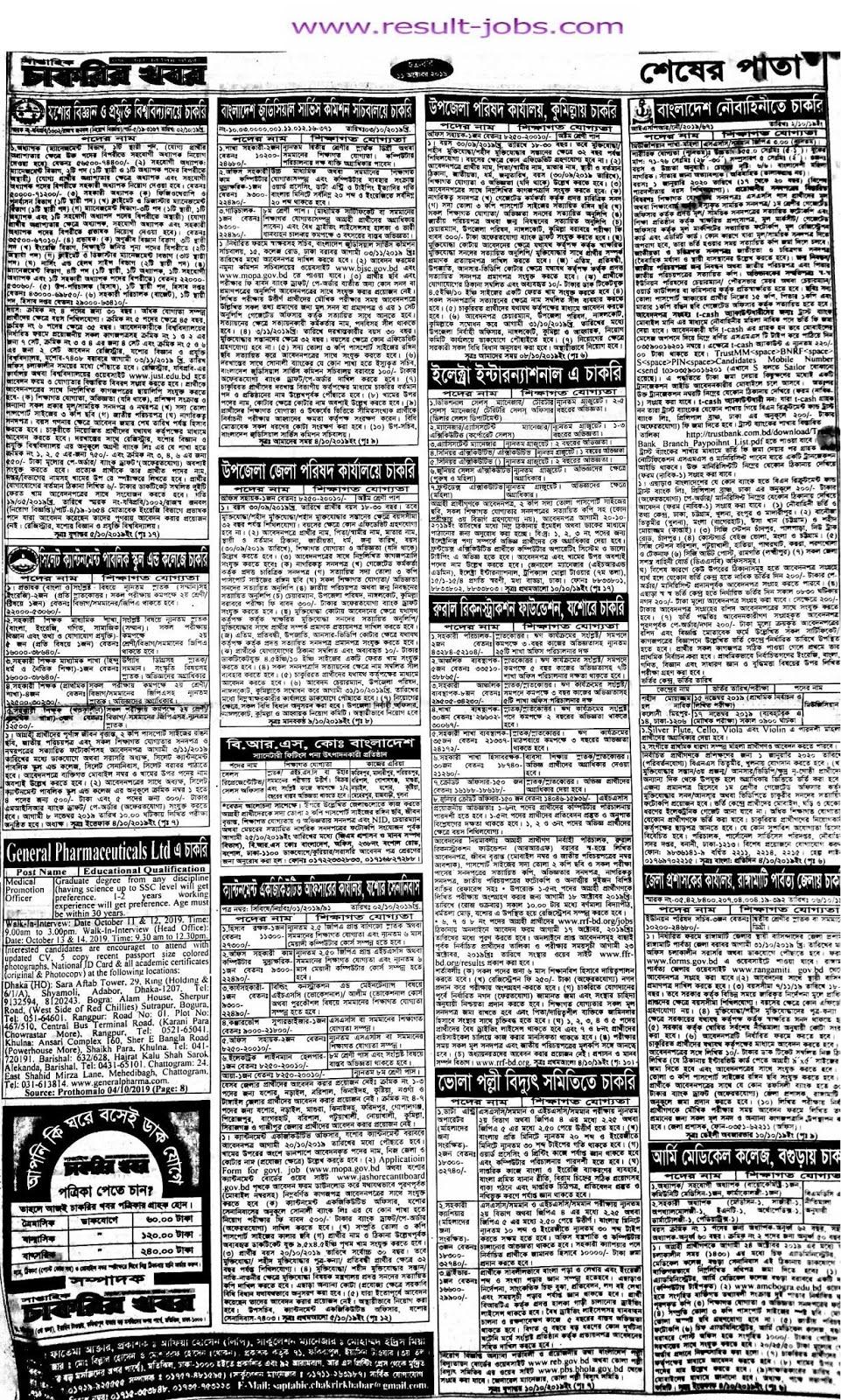 weekly chakrir khobor bangla newspaper 11 October.