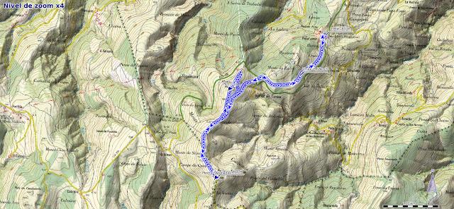 Mapa de la ruta a Piedras Apañadas desde Peñafuente