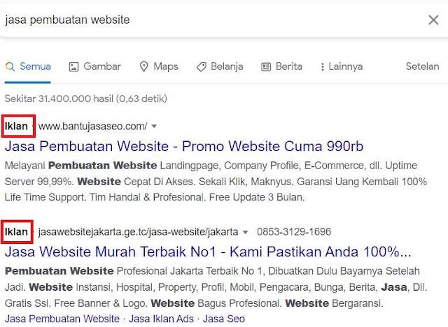 Iklan Google Ads Pada Search Engine